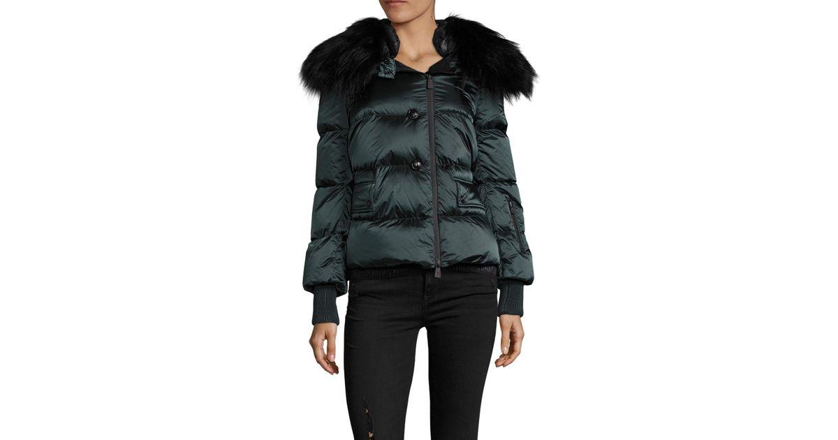 93dc1f477 Moncler Green Rumier Fur Trim Puffer Jacket