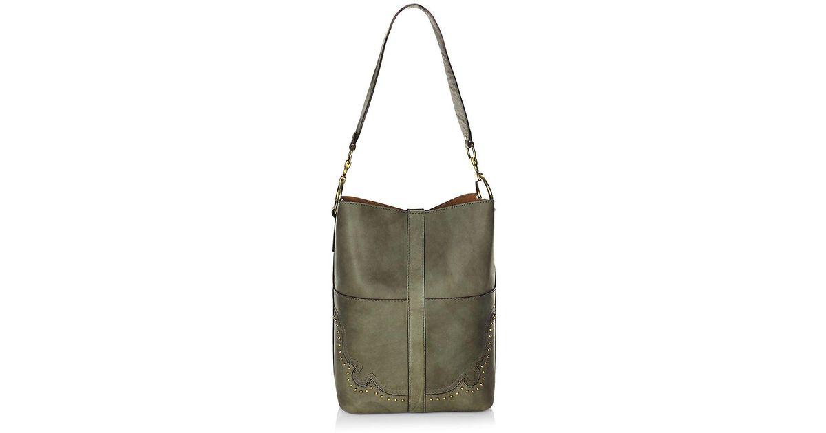 2b180bd6554 Lyst - Frye Ilana Western Leather Bucket Bag