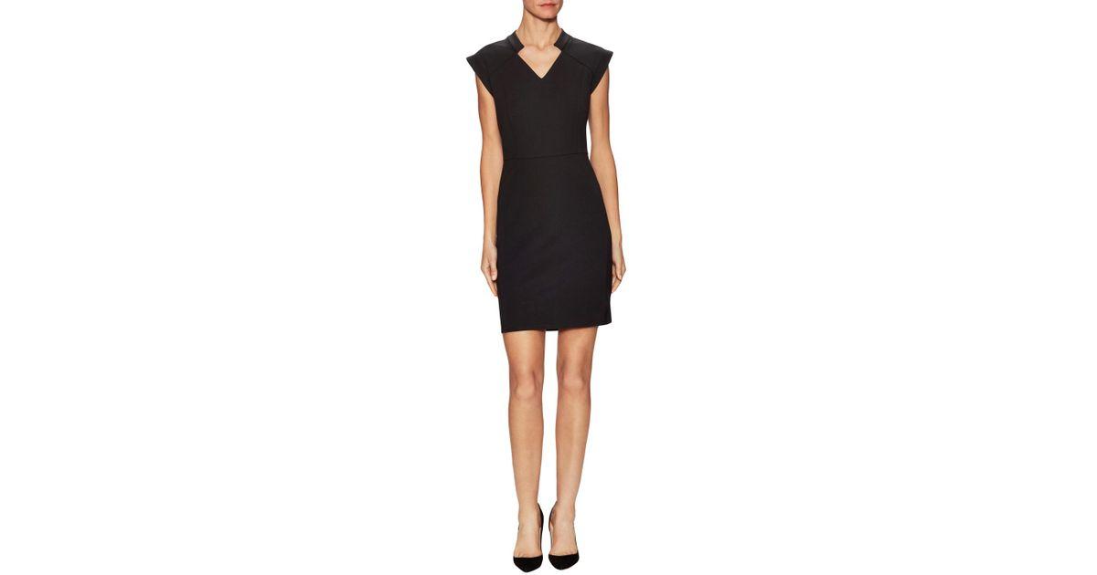 6e89468b86f7 Lyst - Halston Heritage Ponte Cap Sleeve Sheath Dress in Black