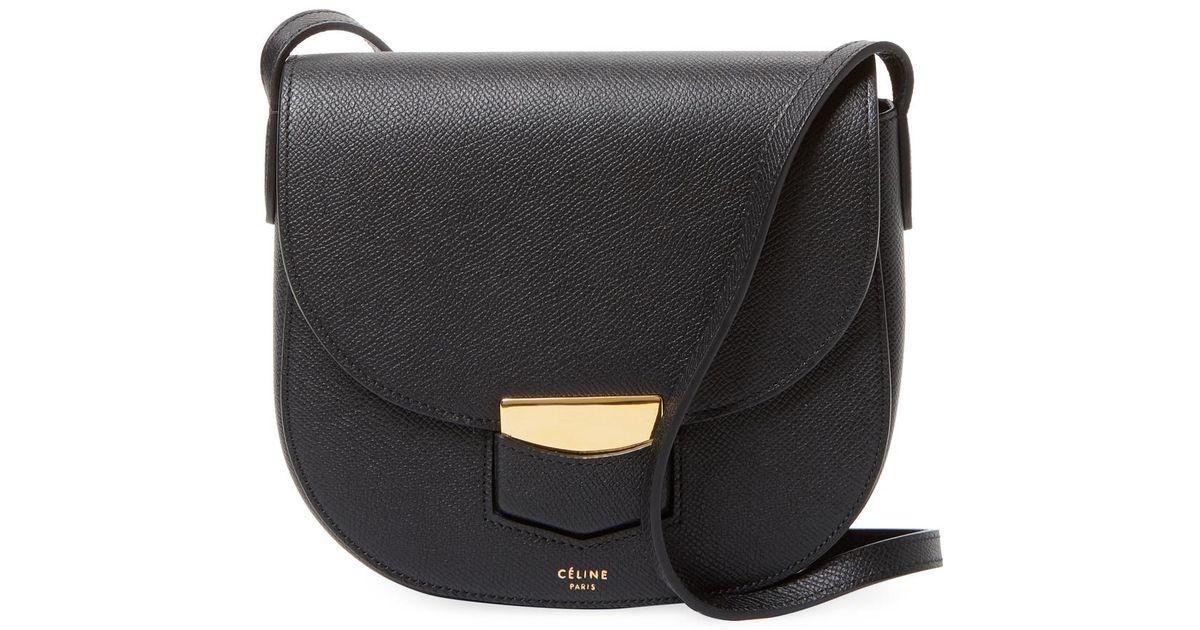c0252ee0c2f7 Lyst - Céline Small Trotteur Leather Crossbody Bag in Black