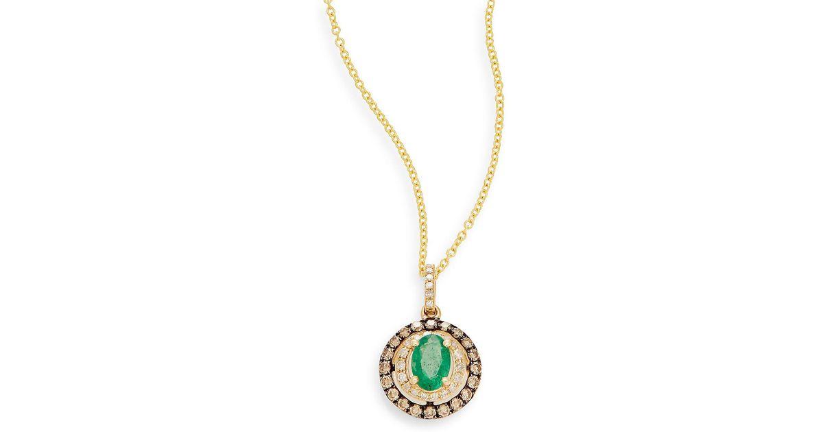 Lyst effy emerald white diamond espresso diamond 14k yellow lyst effy emerald white diamond espresso diamond 14k yellow gold pendant necklace in green aloadofball Image collections