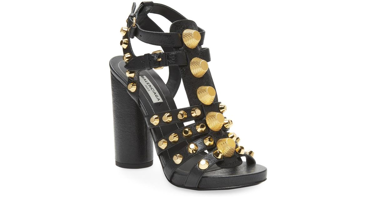 2eeb7518976 Lyst - Balenciaga Studded Leather Block-heel Sandal in Black
