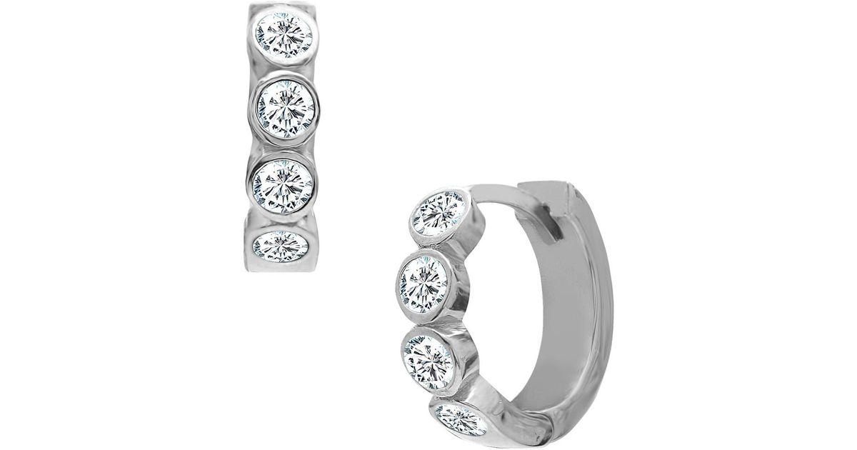 Lyst Gabi Rielle Sterling Silver Mini Baguette Huggie Style Hoop Earrings In Metallic
