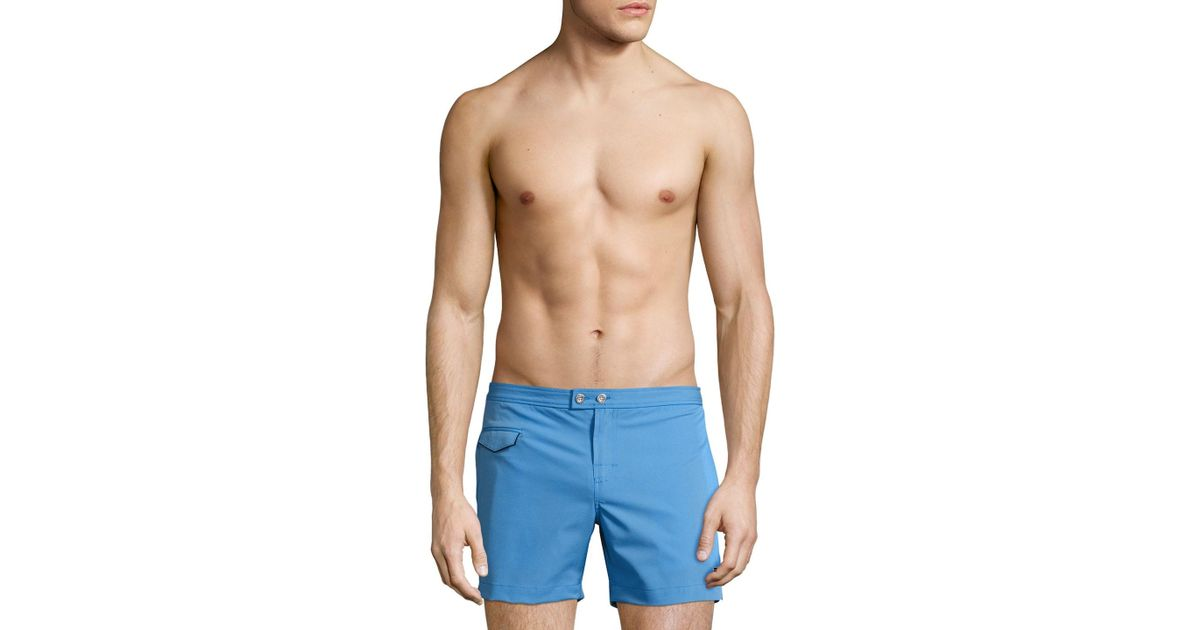 693c18d6c5 Lyst - Parke & Ronen Lido Solid Stretch Swim Trunks in Blue for Men