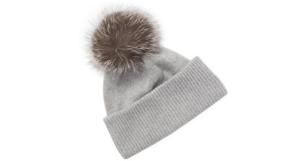 12b4bf2ec Portolano Gray Cashmere Fox Fur Pom Hat