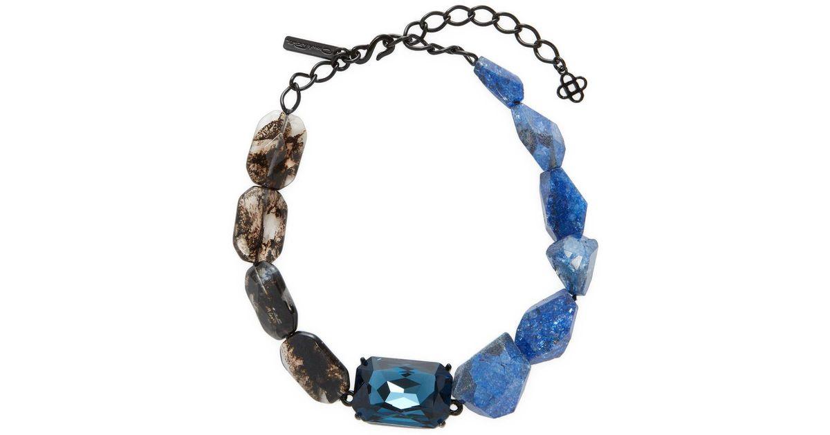 Oscar de la Renta Blue Quartz & Crystal Necklace