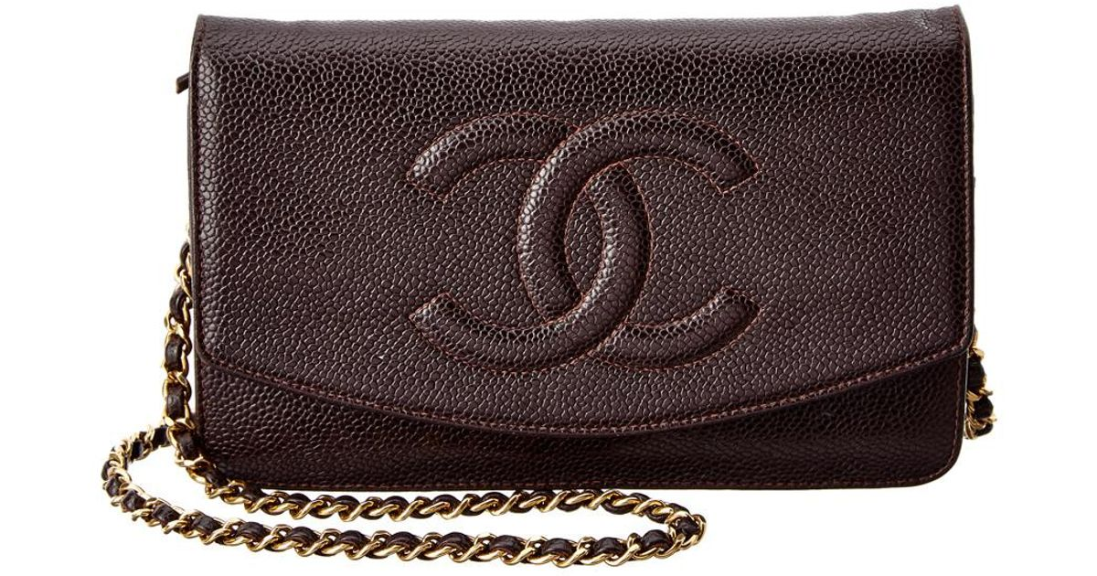 90e975754b5d67 Chanel Chocolate Caviar Leather Timeless Cc Wallet On Chain In Brown