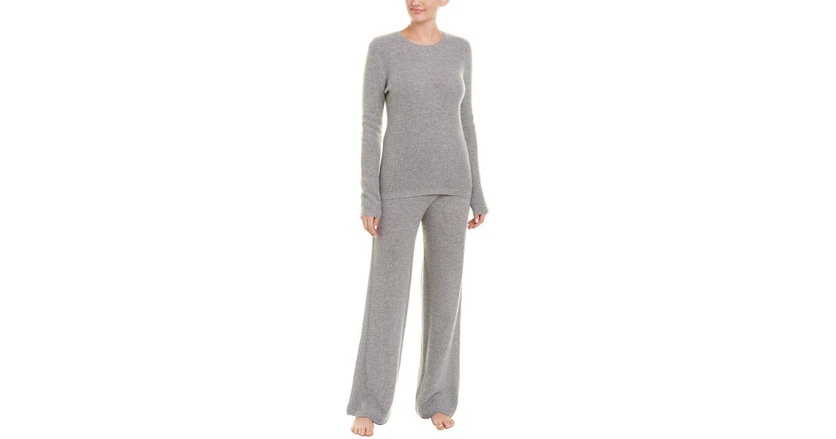 50f0d826377d Lyst - Sofia Cashmere Sofiacashmere 2pc Thermal Lounge Cashmere Pajama Set  in Gray