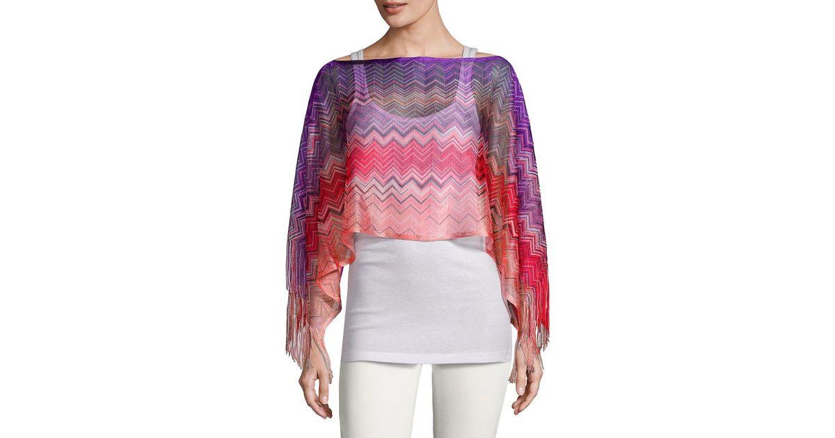 1e556a5e0a812 Lyst - Missoni Crochet Fringe Stripe Poncho in Pink