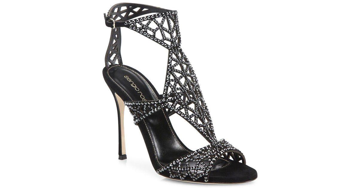 d5ad8a825 Lyst - Sergio Rossi Tresor Swarovski Crystal And Suede Sandals in Black