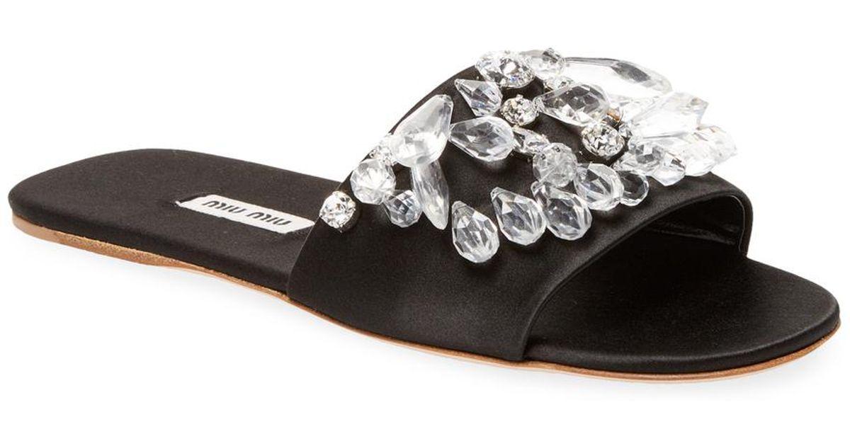 Slide Sandals Miu Black Miu Crystal gf6bvyY7