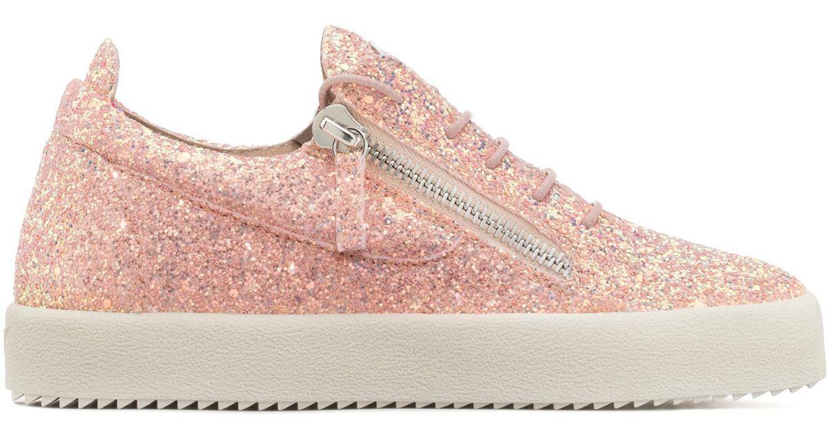 Giuseppe Zanotti Pink fabric low-top sneaker with glitter finishing CHERYL GLITTER oDZEEGZpg