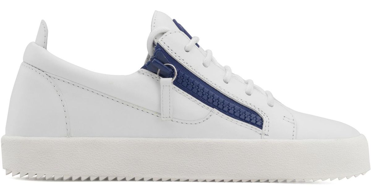 Giuseppe Zanotti Calfskin leather low-top sneaker with blue zips GAIL
