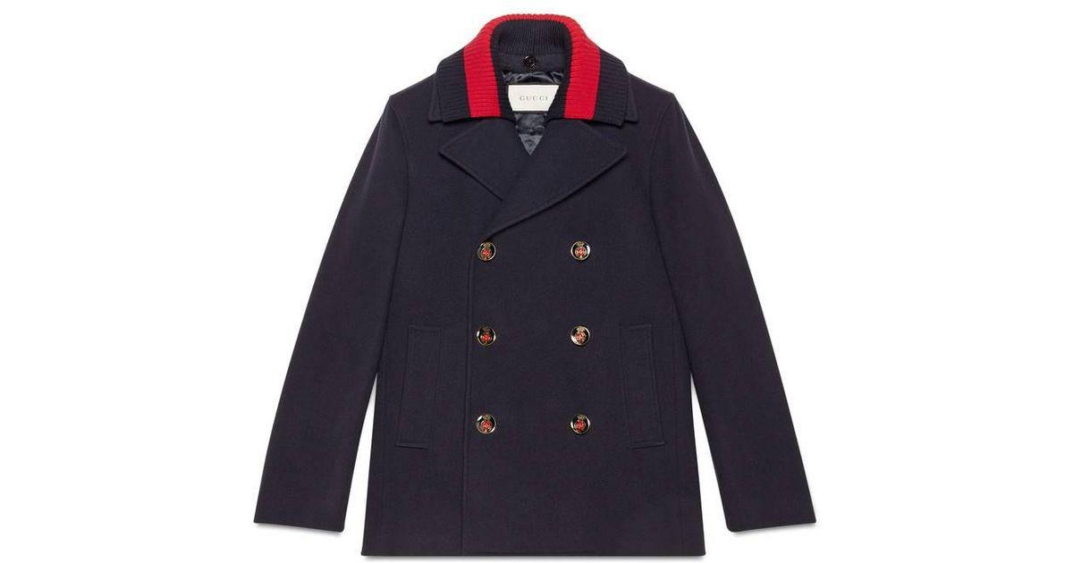 6c6390e62da5 Lyst - Gucci Wool Pea Coat With Web in Black for Men