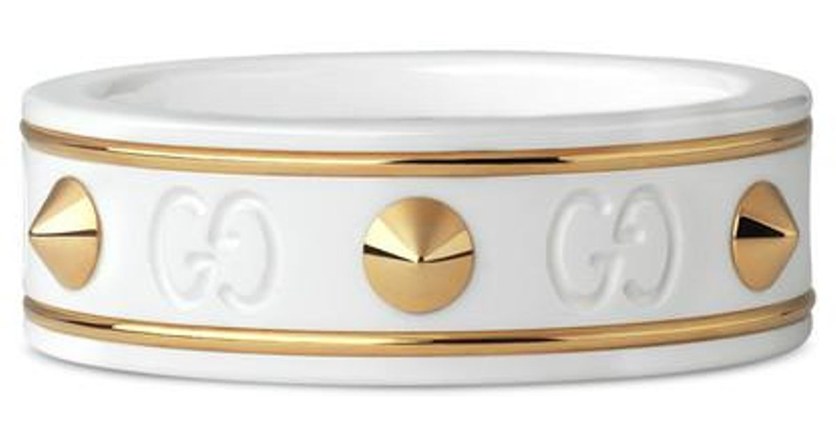 ffc5243f677 Lyst - Gucci Icon Ring With Studs In Yellow Gold in Metallic