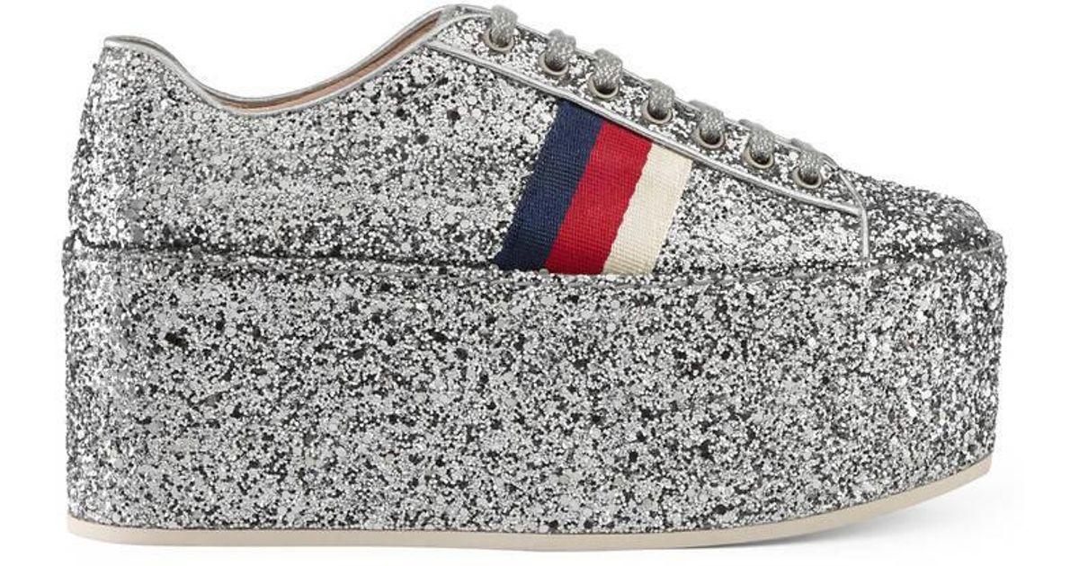 Gucci Glitter Platform Sneaker in