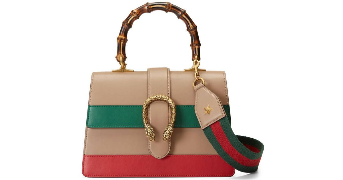 6f7e5a736a9 Gucci Dionysus Leather Top Handle Shoulder Bag in Green - Lyst