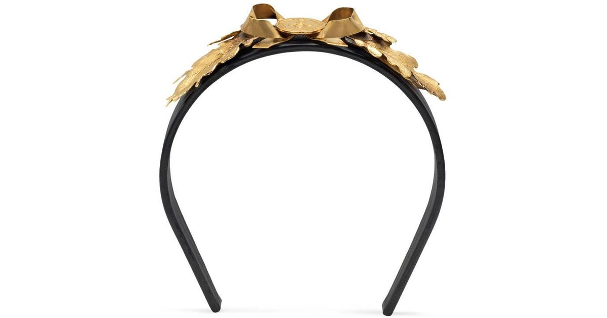 7322de2e6bd Lyst - Gucci Metal Leaves Leather Hairband in Metallic