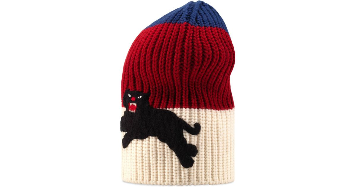 60d4ebd1229 Gucci Web Wool Hat With Panther in Blue for Men - Lyst