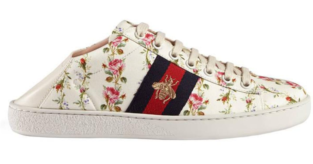 2a4f33c6a9c2 Lyst - Gucci Ace Rose Print Low-top Sneaker in Pink