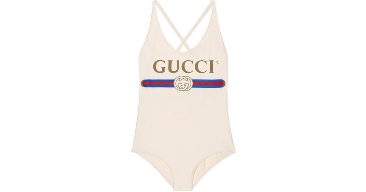 0dd8775b9d7d3 Lyst - Gucci Sparkling Swimsuit With Logo in White
