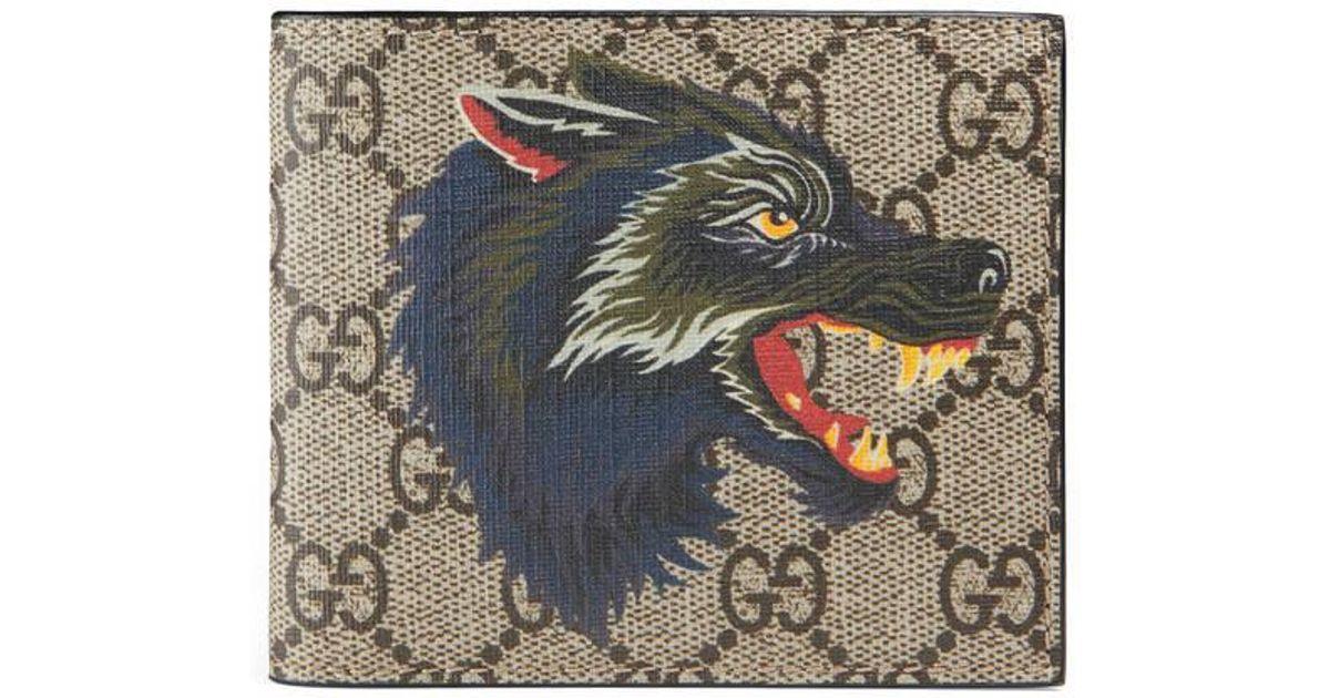 c8a55783b8 Gucci Multicolor Wolf Print Gg Supreme Wallet for men