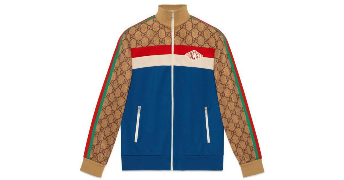 Gucci Gg Technical Jersey Jacket In Blue For Men Lyst