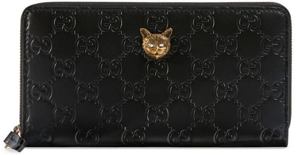 e743d5c8855e Lyst - Gucci Signature Zip Around Wallet With Cat in Black
