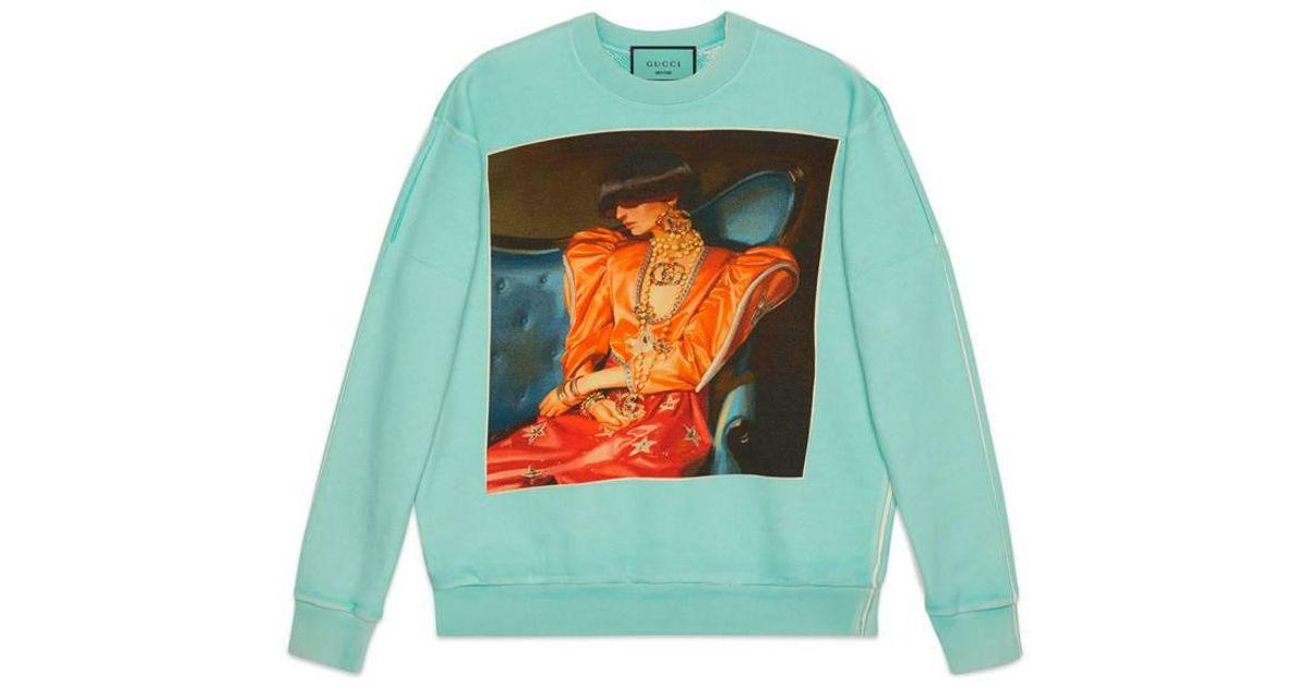 6dbf6949 Gucci Oversize #hallucination Sweatshirt in Green for Men - Lyst
