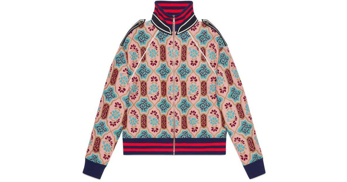 bb51aa43d Gucci Multicolor Lurex Tapestry Jacquard Wool Knit Bomber Jacket