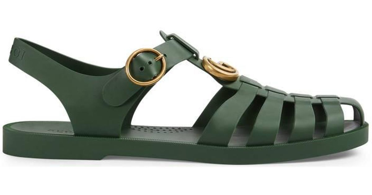 9e08a4980 Lyst - Gucci Rubber Buckle Strap Sandal in Green for Men