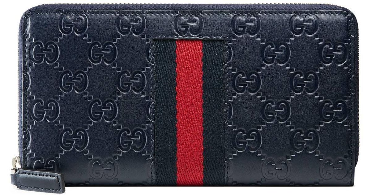 d82a1477e4d5 Lyst - Gucci Signature Web Zip Around Wallet in Blue for Men