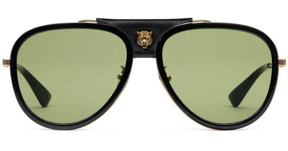 86252dd99ae945 Lyst - Lunettes de soleil aviateur en métal avec cuir Gucci pour homme en  coloris Vert