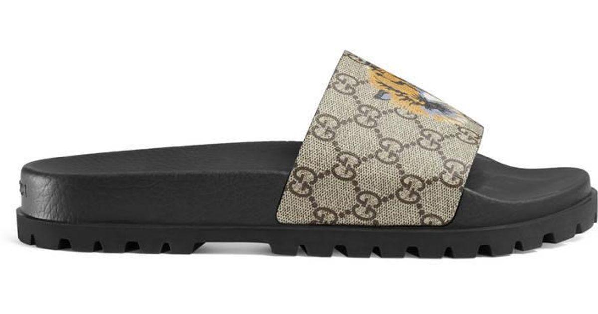 Lyst - Gucci GG Supreme Tiger Slide Sandal in Natural for Men d3043ce6bb8a