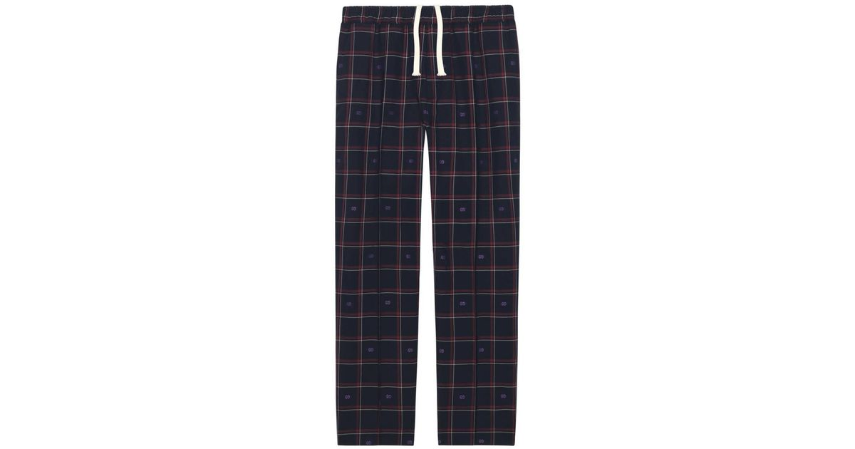 288e3311f7c9f Lyst - Gucci GG Check Wool jogging Pant Blue in Blue for Men