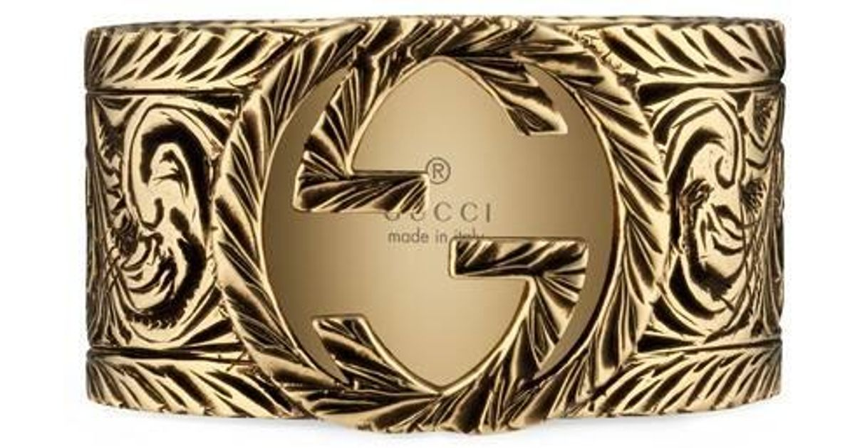 2c2ce3c2c Gucci Yellow Gold Ring With Interlocking G in Metallic for Men - Lyst