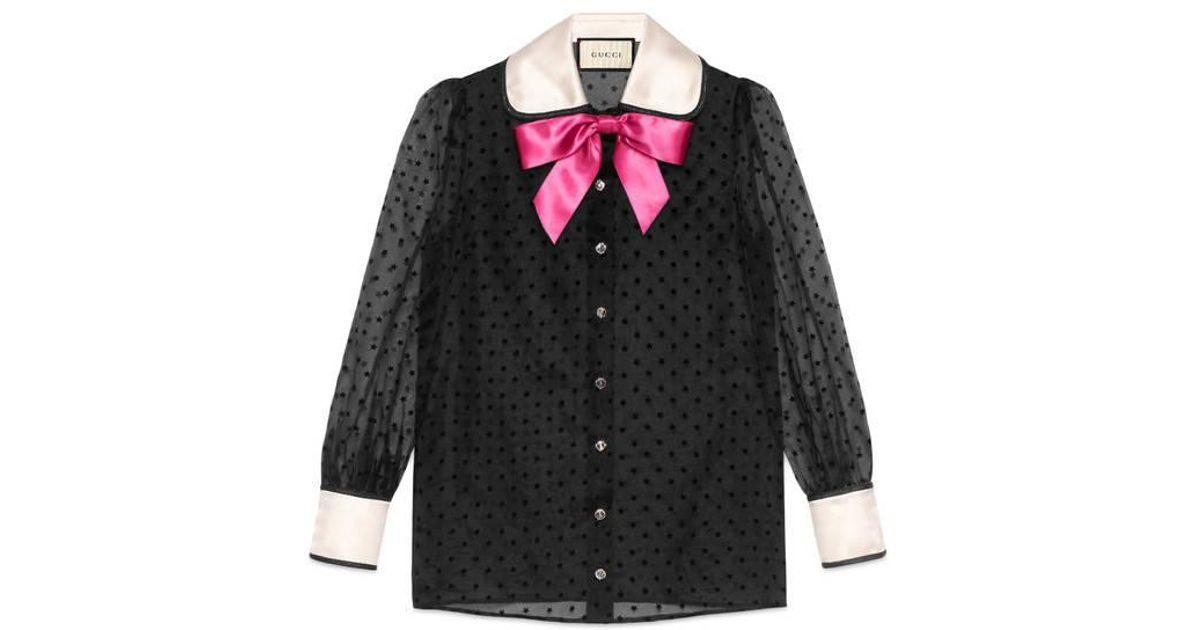 1662640138d697 Gucci Taffeta Star Flock Shirt With Bow in Black - Lyst
