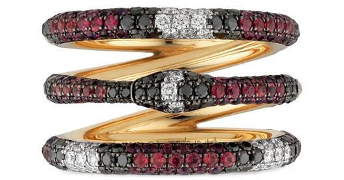 Gucci Ouroboros ring in gold and gemstones fNURibRrF9
