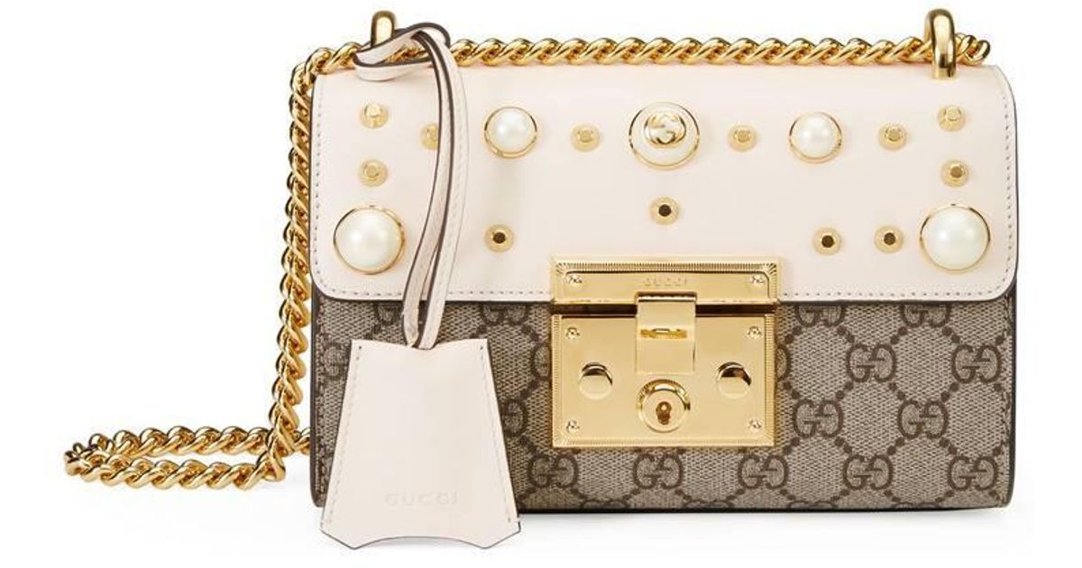 d4de3f8beab Lyst - Gucci Padlock Studded Gg Supreme Shoulder Bag in Natural