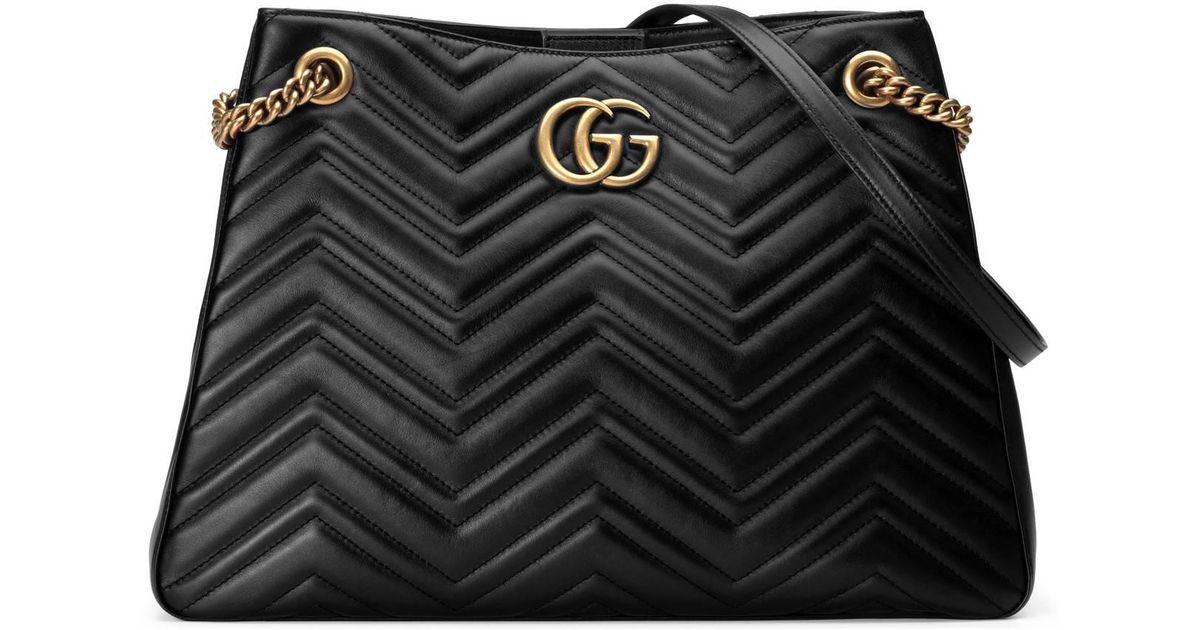 751e2ed9 Gucci Black GG Marmont Medium Matelassé Shoulder Bag