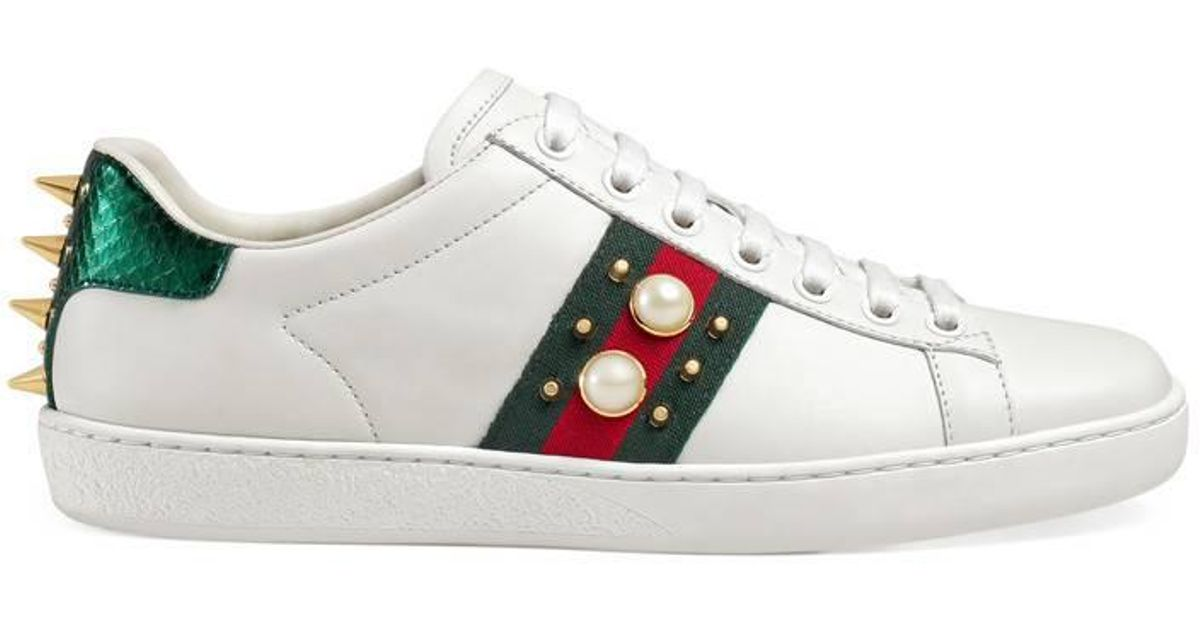 5b18705d87a Lyst - Gucci Ace Pearl And Stud-Detail Leather Trainers in White - Save 17%