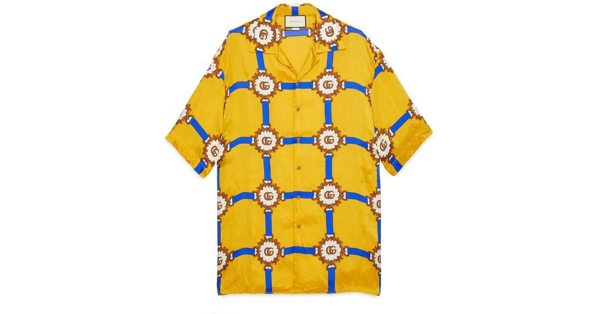 6a4dc9a0de50 Gucci Bowling Shirt With GG Harness Print in Yellow for Men - Lyst