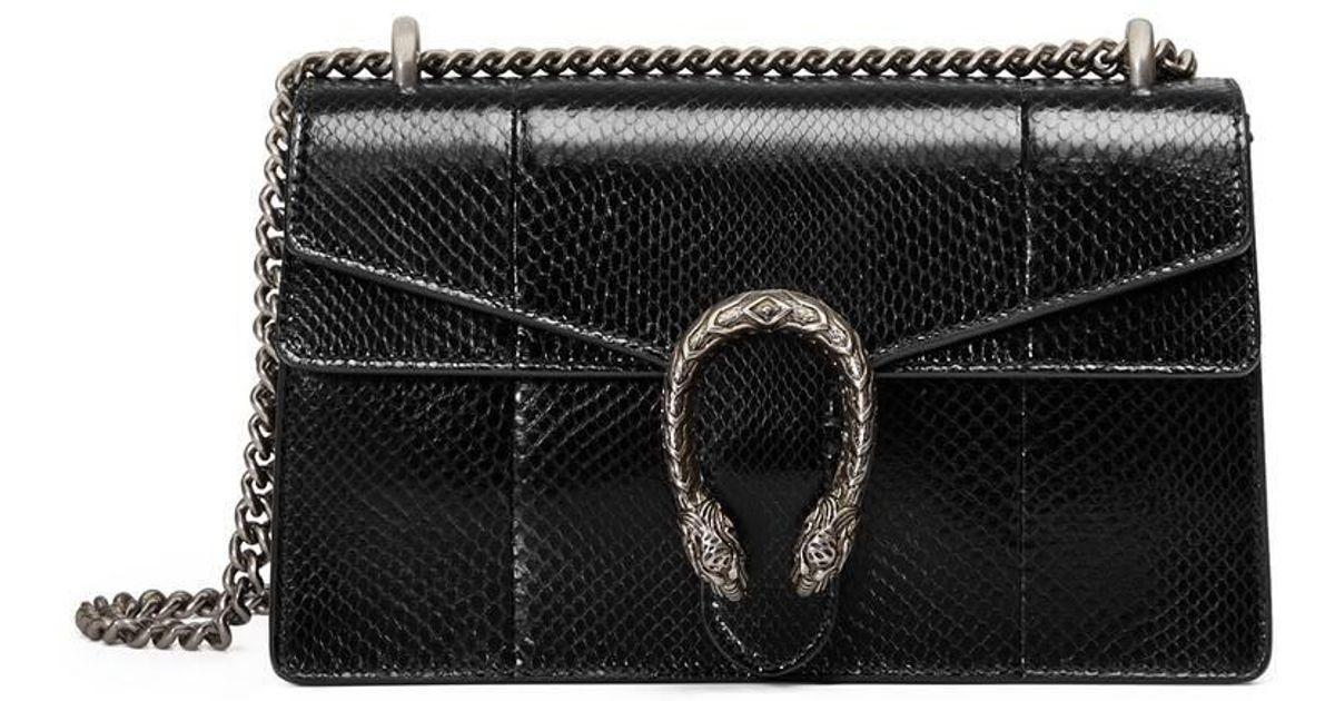 465aa1f8e05507 Gucci Dionysus Python Shoulder Bag in Black - Lyst