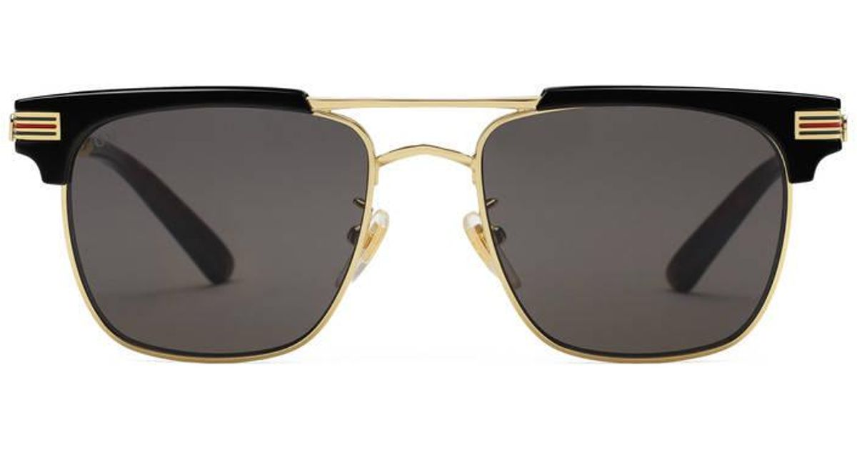 42a4f0e7056 Lyst - Gucci Square-frame Metal Sunglasses in Black