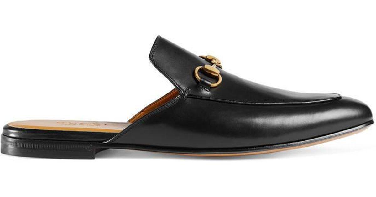 5da4ef5aeb12 Gucci Leather Horsebit Slipper in Black - Lyst