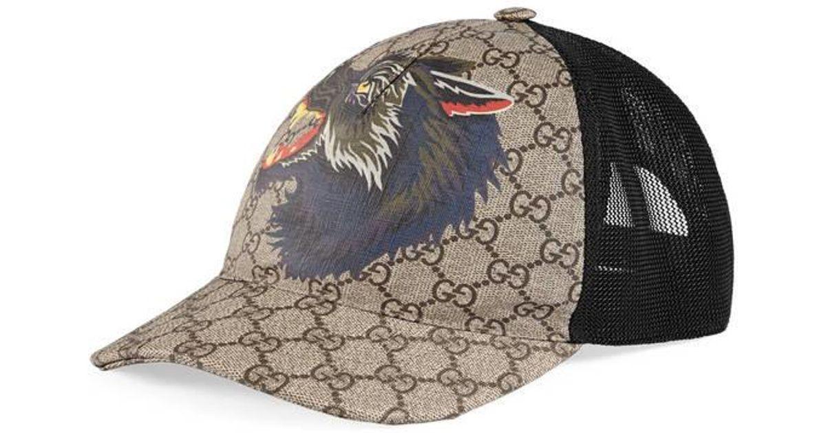 Gucci Gg Supreme Wolf Baseball Hat in Black for Men - Lyst e9df8061063