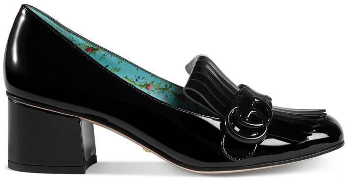 5725a63a3 Gucci Marmont Patent Leather Mid Heel Pump in Black - Lyst