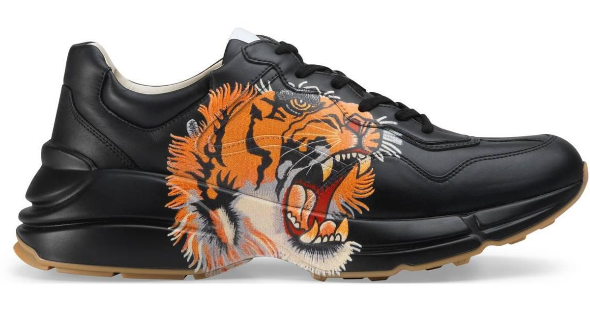 7c62752e795 Lyst - Gucci Rhyton Leather Sneaker With Tiger in Black for Men
