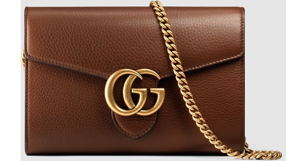 be746a630c Gucci Brown GG Marmont Leather Mini Chain Bag