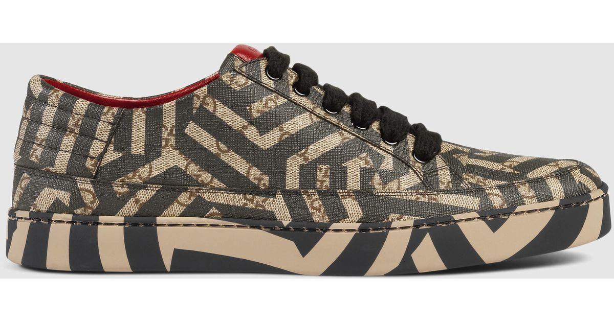b7c30312f Gucci Gg Caleido Low-top Sneaker in Brown for Men - Lyst